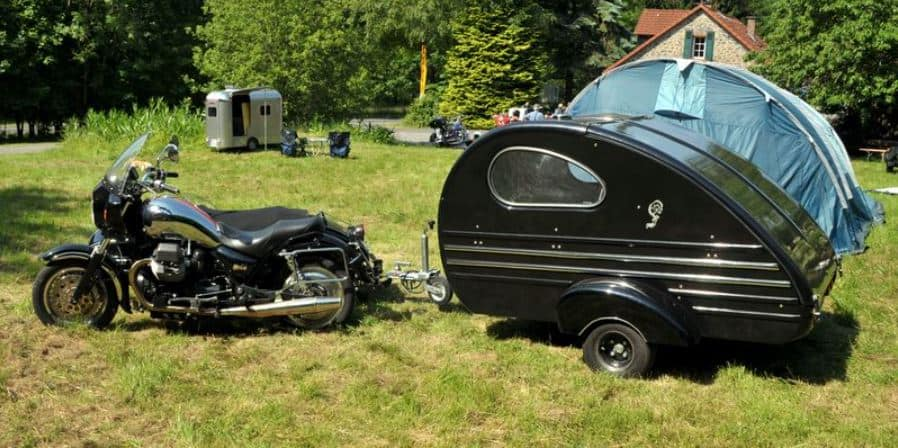 motorcycle with a teardrop trailer