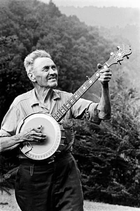 old photo of a man playing the banjo